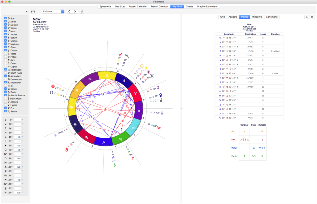 iPhemeris Astrology Chart for mac using french wheel style